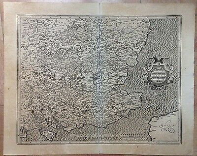 England Southeast Gerard Mercator & Jodocus Hondius 1623 Large Antique Map