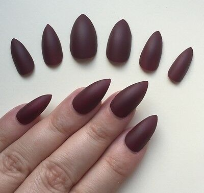 Hand Painted False Nails STILETTO (Or ANY SHAPE) Dark Matte Red. Full Cover. UK