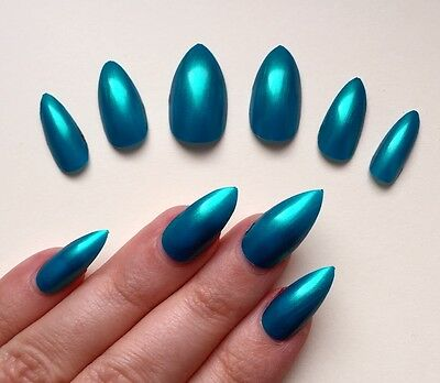 Hand Painted False Nails STILETTO (Or ANY SHAPE) Mermaid Green Blue Teal Shimmer