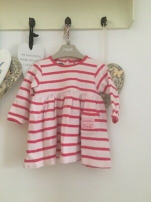 Baby Girls Pink & White Striped Nautical Dress By Jasper Conran Age 3-6 Months