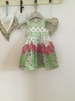 Baby Girls Pretty Summer Dress Green & Pink From Mothercare 3-6 Months