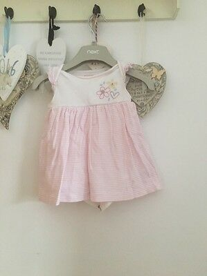 Baby Girls Pale Pink And White Striped Summer Dress Floral Detail Age 6-9 Months