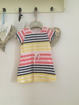 Baby Girls Yellow Blue & Coral Striped Summer Dress Age 3-6 Months H&M