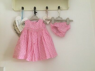 Baby Girls Pink £ White Spotty Summer Dress From M & Co Age 3-6 Months
