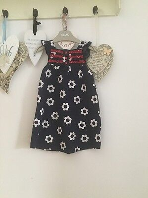 Baby Girls Blue & White Floral Summer Dress Age 6-9 Months By Just One You