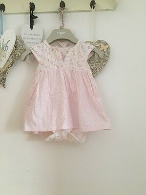 Baby Girls Pretty Pink & Cream Floral Summer Dress Age 6-9 Months From Mothercar