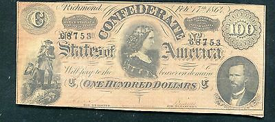 """T-65 1864 $100 One Hundred Csa Confederate States Of America """"Lucy Pickens"""" Xf"""