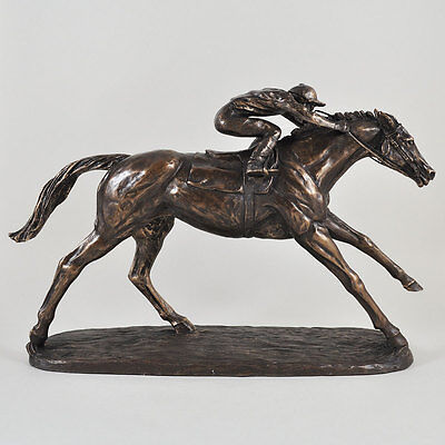 ON THE FLAT Bronze Sculpture Superb Horseracing Gift by Harriet Glen New & Boxed