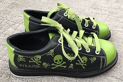 Pyramid Bowling Shoes, Black & Lime Green with Skulls, Youth Size 5
