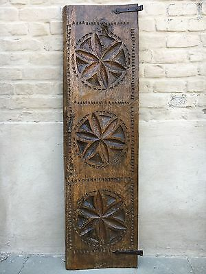 Antique Massive Spanish Gothic Door panel in carved in wood circa 1750 / 53.93 H