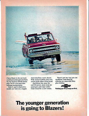 1970 Chevrolet Blazer Truck Original Magazine Ad- Fiber-Glass Top-General Motors