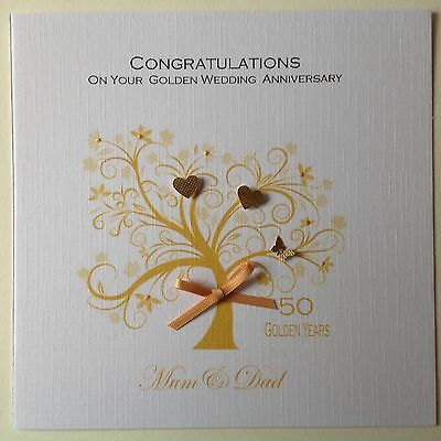 personalised handmade golden wedding anniversary card 50th 3 80