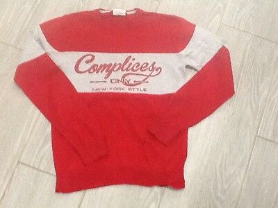 Pull fin gris et rouge complice taille 12ans garcon