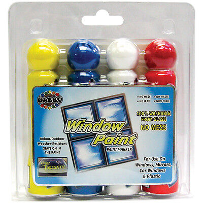 Window Paint Markers 1.4oz 4/Pkg Yellow, Blue, White & Red 81538