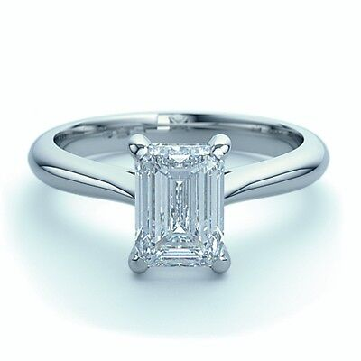 18k White Gold 0.65Ct Emerald Diamond Solitaire Engagement Ring