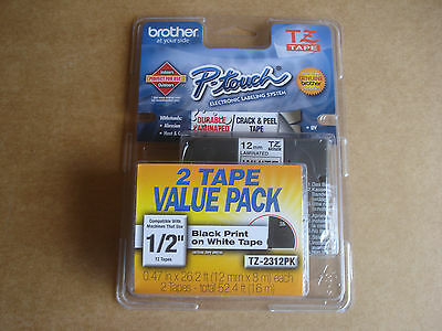 "Genuine Brother P-Touch TZ-2312PK Tape 1/2"" Black on White 12mm 2-pack Labeling"