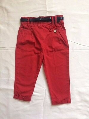 Jasper Conran Red Chino Trousers with Belt for Baby Girl 12-18 months
