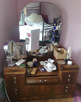 Super stripped art deco/austerity 30's/40's dropped front Dressing Table +Mirror