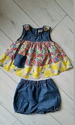 Next girls shorts and tunic top outfit set 12-18 months