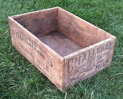 Vintage Pre War Borden's Condensed Milk Advertising Wood Shipping Box Crate