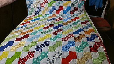 Handcrafted Handmade Pieced boy Bowtie Multi Color Baby Crib Lap Throw Quilt