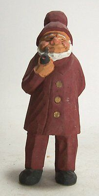 Vintage Hand Painted Carved Wooden Nautical Seaman Old Man w/Pipe Figurine