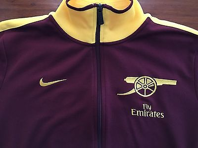 Arsenal FC Nike N98 Training Track Jacket Size Large Red Current / Midwest Gold