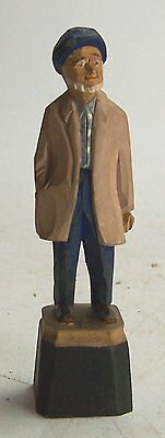 Vintage 1967 Hand Painted Carved Wooden Nautical Agnes Dube Old Man Figurine