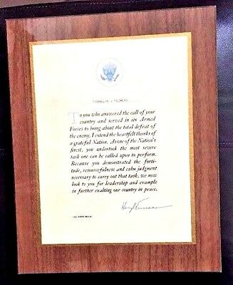 HARRY S. TRUMAN Signed WHITE HOUSE Letter of Accommodation Thanks 4 Service WW2