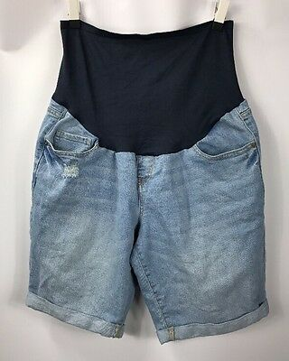 Old Navy Maternity Light Wash Boyfriend Jean Shorts Full Panel size 12