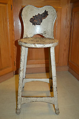 Vintage metal iron Industrial Machine Age Steam Punk Bar Stool Task Chair