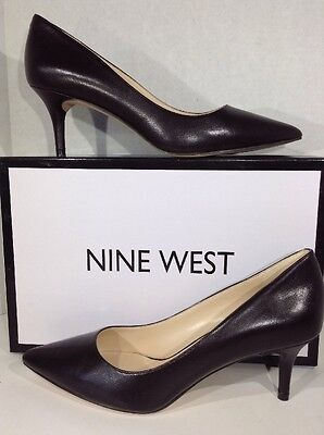 NINE WEST Margot Women's Size 7.5 Dark Brown Leather Pumps Shoes X3-623
