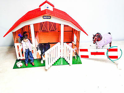 22Pc Breyer Classic Red 3 Stall Stable Barn w/ Girl Rider Doll, 3 Horses Lot