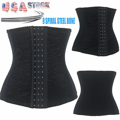Women Underbust Steel Boned Waist Trainer Corset Shaper Cincher Basque US HOT