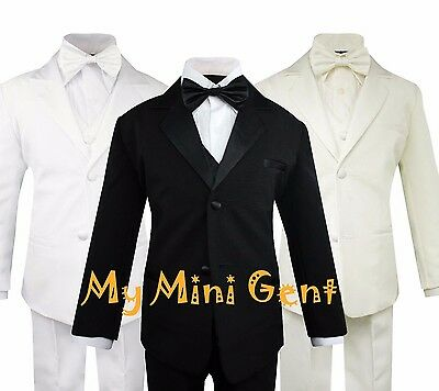 My Mini Gent Boys 5PC Classic Fit Formal Tuxedo Suit Set No Tail Bow Tie
