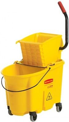 Commercial Yellow Mop Bucket Container Heavy Duty Wringer and Rolling Casters