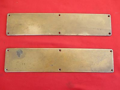 "2 Vintage YALE 16"" Solid Brass Door Push Plate Antique Hardware Restoration LOOK"