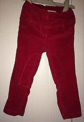 Girls Next Age 12-18 Months- Red Cord Jeggings/Jodhpur Style Ex Condition
