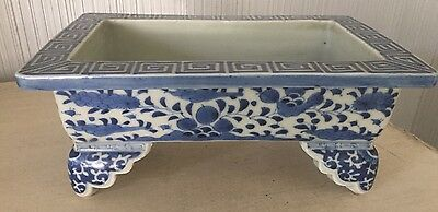 """Antique Chinese Pottery Old Asian Blue & White Porcelain Bulb Planter Bowl 10"""""""