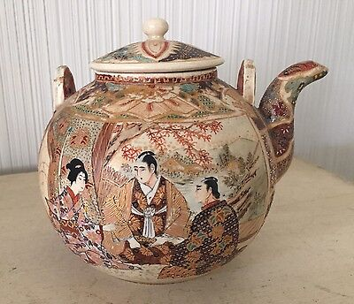 Antique Chinese? Pottery Teapot Painted Raised Enamel Scene Art Old Asian