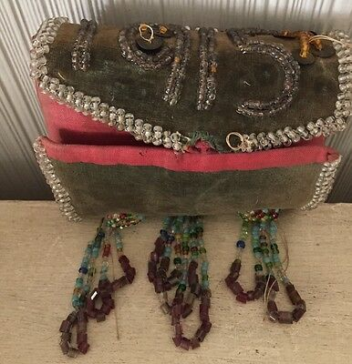 Antique 1915 Native American Indian Bead Work Pin Cushion Beaded Velvet As Is