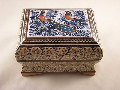 Persian Miniature Hand Painting Khatam Inlaid Handmade Jewelry Trinket Gift Box
