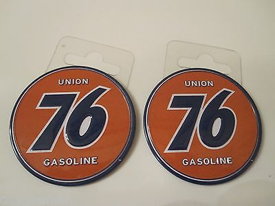 """(2) UNION 76 Gas & Oil Service Station Garage Metal 2 1/4"""" Toolbox Magnets"""