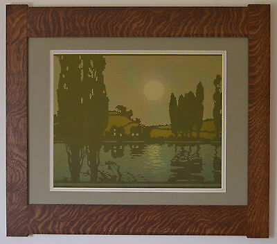 Mission Style Quartersawn Oak Arts & Crafts Large Framed Print- Moonscape