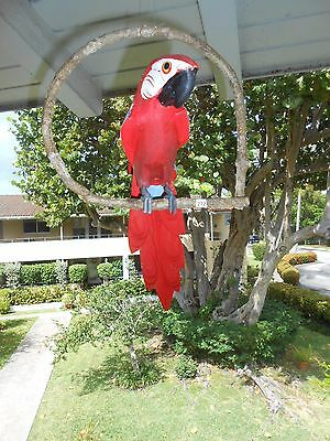 """Handcrafted carved wood 15"""" red parrot hanging on bush vine indoor/outdoor"""