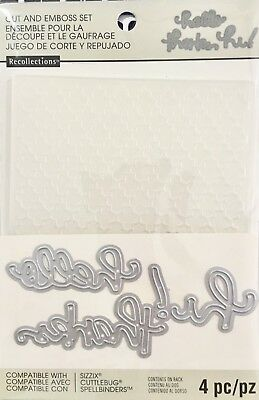 Recollections Die & Embossing Folder Set ~Hello Thanks Hi 508075