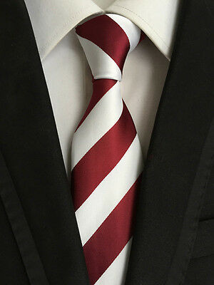 Classic Mens Necktie Silk Wine Red White Striped Ties Wedding Business XT-066