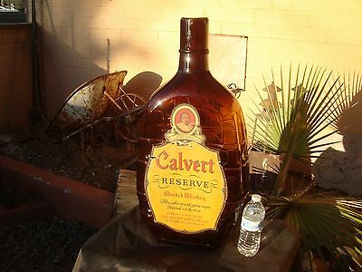 Vintage CALVERT RESERVE BLENDED WHISKEY BOTTLE HUGE BAR ADVERTISING SIGN RARE