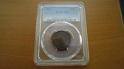1835 Classic Head Half Cent 1/2C Pcgs F12 Only 398,000 Minted~!