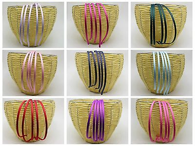 Details about  /10 Mixed Color Metal Headband Covered Satin Hair Band 5mm for DIY Craft